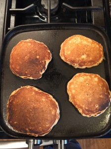 Pancakes after the first flip